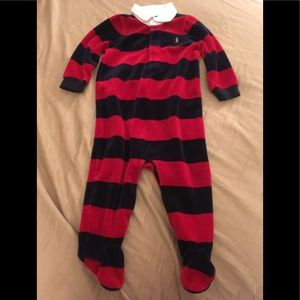 Ralph Lauren velour striped footie romper
